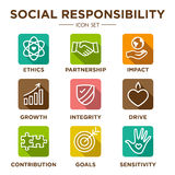 Social Responsibility Outline Icon Set Stock Photography