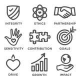 Social Responsibility Outline Icon Set Stock Photos