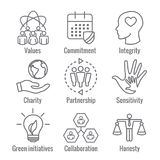 Social Responsibility Outline Icon Set with Honesty, integrity,. & collaboration, etc Stock Photography