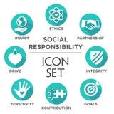 Social Responsibility Solid Icon Set Stock Photos