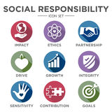 Social Responsibility Solid Icon Set Stock Image