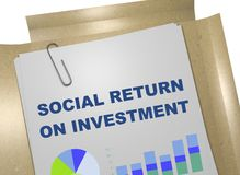 Social Return On Investment (SROI) concept. 3D illustration of SOCIAL RETURN ON INVESTMENT title on business document Royalty Free Stock Photos