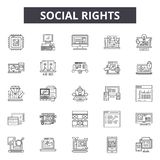 Social rights line icons, signs, vector set, outline illustration concept. Social rights line icons, signs, vector set, outline concept illustration stock illustration