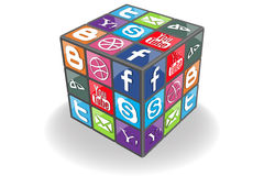 Social Rubic Cube. Illustration for your needs Royalty Free Stock Photo