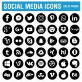 Social runda för massmediasymbolssvart royaltyfri illustrationer