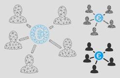 Social sammanlänkningsvektor Mesh Network Model för euro och mosaisk symbol för triangel royaltyfri illustrationer