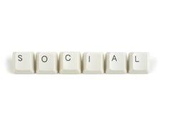Social from scattered keyboard keys on white Stock Image