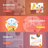 Social science of economics. Political economy.. Court of Justice. Study of statistics. Exact sciences. Civil law. Liberal art. Education and science banners Stock Photography