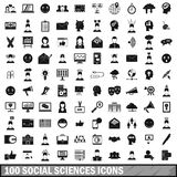 100 social sciences icons set, simple style. 100 social sciences icons set in simple style for any design vector illustration Vector Illustration
