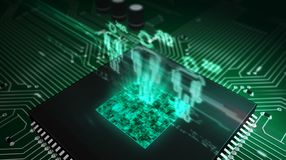 Social scoring hologram concept. Social scoring concept with people symbols hologram over cpu in background. Circuit board 3d illustration. Futuristic concept of