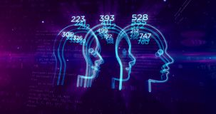 Social scoring and people rating concept with head shape. Social scoring, people rating and human behavior analysis. Profiling and measurement citizens by stock illustration