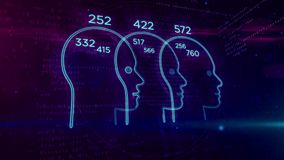 Social scoring and people rating concept with head shape looping. Social scoring, human behavior analysis and people rating. Profiling and citizens measurement stock illustration
