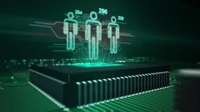 Social scoring and people rating concept. Social scoring concept with people symbols hologram over cpu in background. Circuit board 3d illustration. Futuristic
