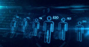Social scoring and people rating looping concept animation. Social scoring and people rating advanced algorithm concept on digital background. Profiling and stock illustration