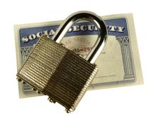 Social Security. Card protected by a padlock Royalty Free Stock Photos