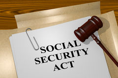 Social Security Act concept. 3D illustration of SOCIAL SECURITY ACT title on legal document stock illustration