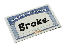 Social Security Broke Stock Image