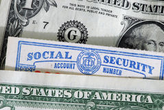 Social Security card. Loosing its value Stock Photography