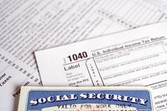 Social Security card and tax forms Royalty Free Stock Images