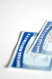 Social security cards. Pair of social security cards over white background royalty free stock photo
