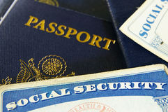 Social Security cards and passports Stock Photography