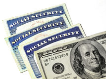 Social Security Cards Representing Finances and Retirement Royalty Free Stock Images