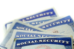 Social Security Cards Representing Finances and Retirement Stock Photo