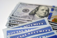Social Security Cards Representing Finances and Retirement Stock Photos