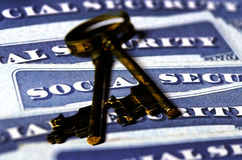 Social Security Cards Representing Retirement Keys Royalty Free Stock Photography