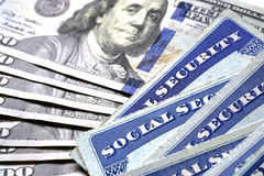 Social Security Cards in a Row Pile for Retirement Stock Photo