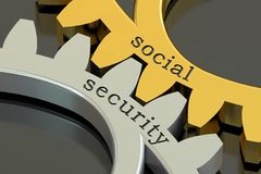 Social Security concept on the gearwheels, 3D rendering Stock Photos