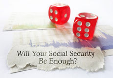 Social Security dice. Social Security benefit message with dice and stock chart Stock Photo