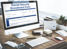 Social Security Enrollment Form Document Concept Stock Photos