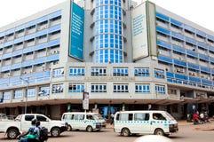 Social Security House, Kampala Road, Kampala, Uganda. Social Security House, with minibus taxis in foreground, Kampala Road, Kampala, Uganda Royalty Free Stock Image