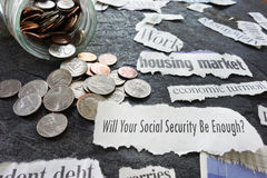 Social Security newspaper headlines. Social Security question with economic news headlines Stock Photography