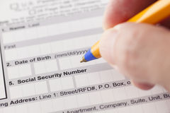 Social security number fields in application form Stock Photos