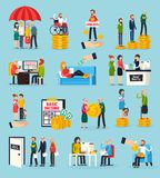 Social Security Orthogonal Icons Set. With family protection, disability and unemployment benefits, documents execution isolated vector illustration Royalty Free Stock Images
