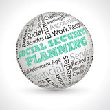 Social security planning  vector theme sphere with keywords Royalty Free Stock Images