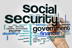 Social security word cloud. Concept on grey background Royalty Free Stock Image