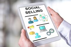Social selling concept on a tablet royalty free stock photo