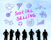 Social selling concept on a wall Stock Image