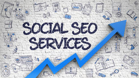 Social SEO Services Drawn on White Brickwall. Social SEO Services - Modern Style Illustration with Hand Drawn Elements. Social SEO Services - Increase Concept stock illustration