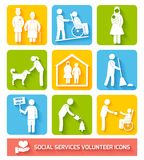 Social services icons set flat Royalty Free Stock Photos
