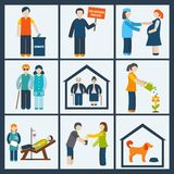 Social services icons set Royalty Free Stock Photos