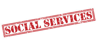 Social services red stamp. On white background Royalty Free Stock Images