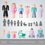 Social set of people family. Set of flat design different age  people from infant to retiree Royalty Free Stock Images
