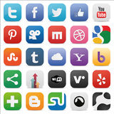 Social set squared icons. Zip includes 300 dpi JPG, Illustrator CS, EPS10. Vector with transparency Royalty Free Stock Photography