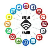 Social Share Background. Social Share Icons with White Background Stock Images