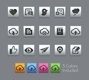 Social Sharing and Communications -- Satinbox Series. The Vector file includes 5 color versions for each icon in different layers Stock Photography