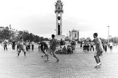 Social sport. Central square, Phnom Penh, Cambodia Royalty Free Stock Image